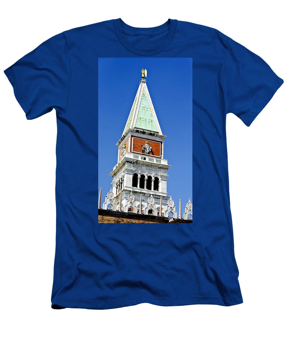 Venice Italy Men's T-Shirt (Athletic Fit) featuring the photograph Venice Italy - St Marks Square Tower by Jon Berghoff