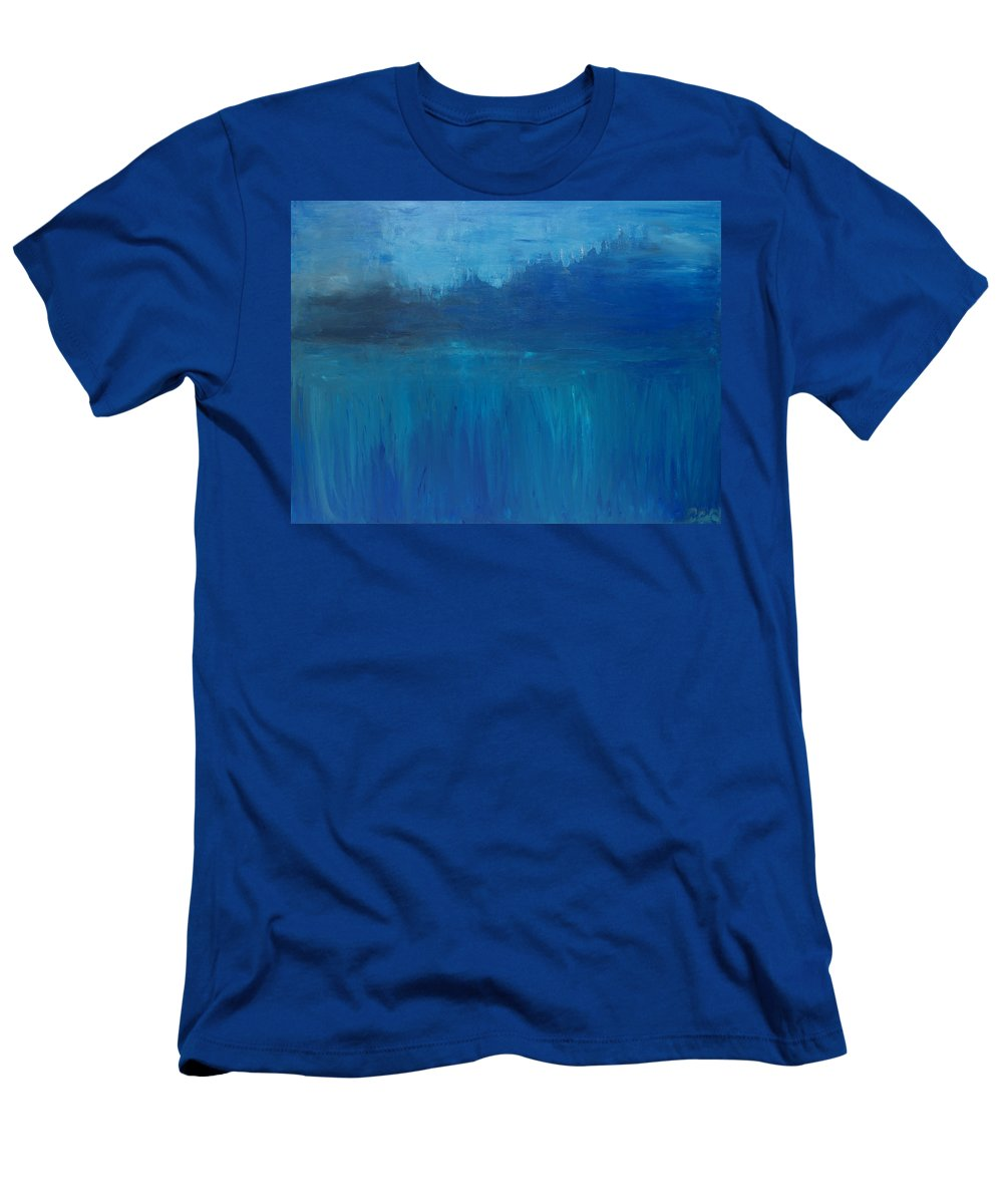 Woodland Men's T-Shirt (Athletic Fit) featuring the painting View From The Lake by Christine Cobden