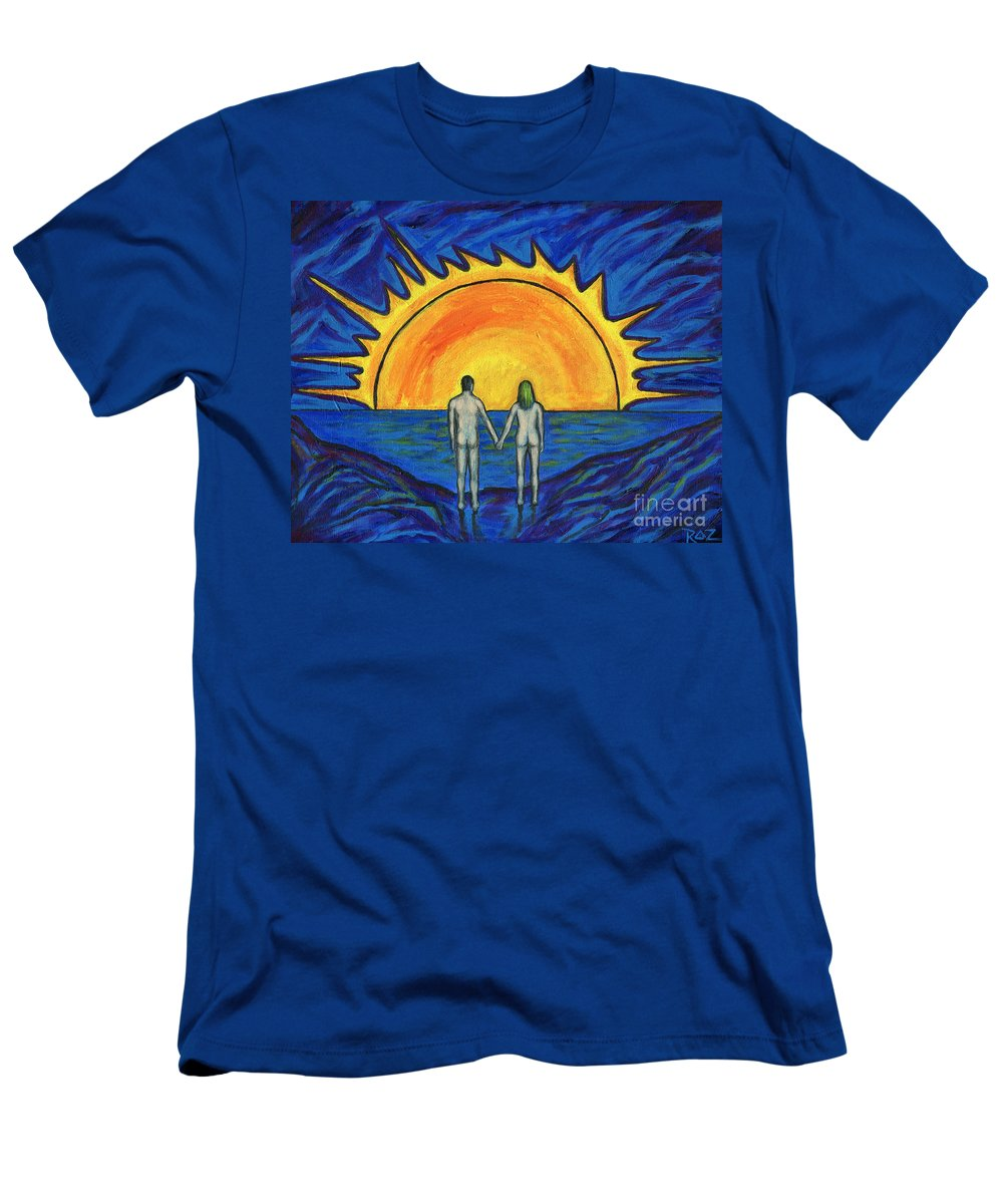 Love Men's T-Shirt (Athletic Fit) featuring the painting Waiting For The Sun by Roz Abellera