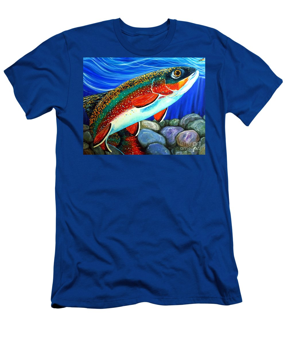 Fish Men's T-Shirt (Athletic Fit) featuring the painting Brook Trout by Jackie Carpenter