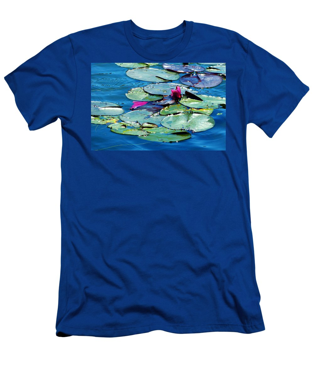 Water Men's T-Shirt (Athletic Fit) featuring the photograph Water Lilies by Monique Morin Matson