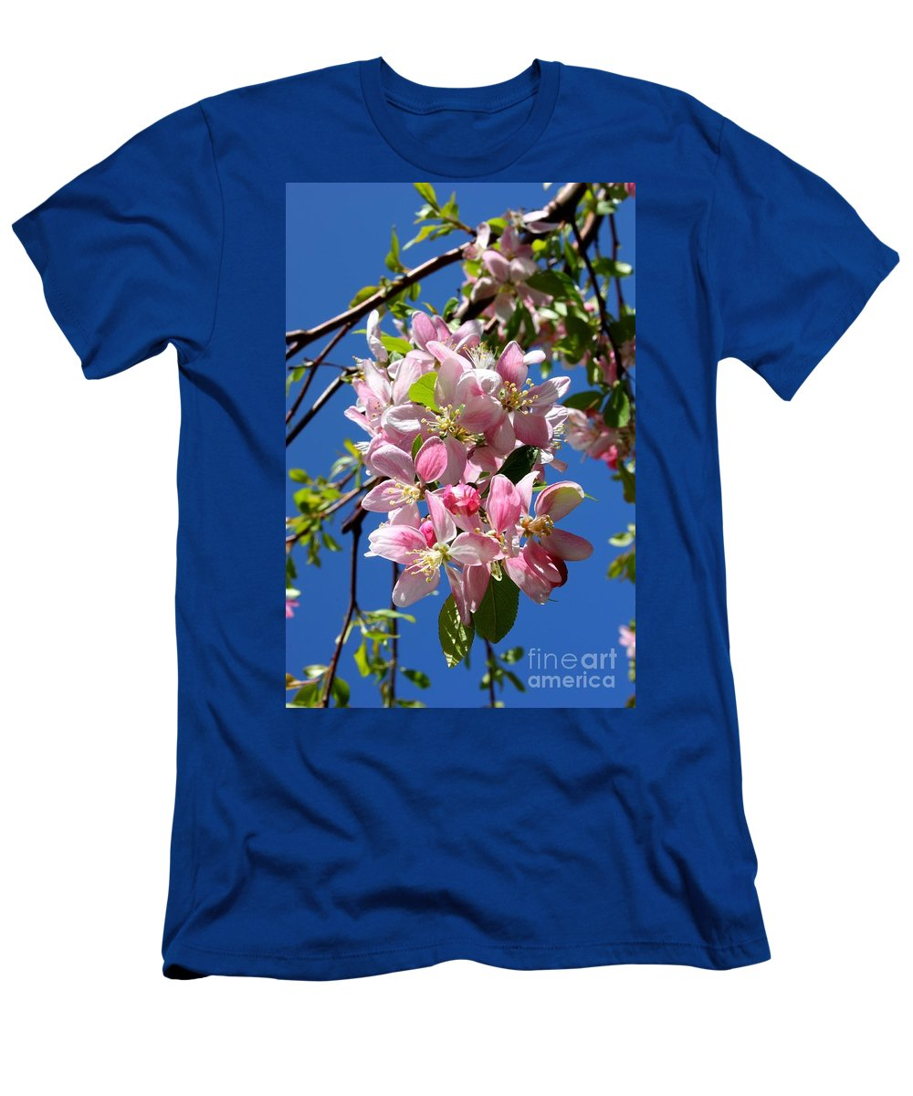 Weeping Cherry Tree Blossoms Men's T-Shirt (Athletic Fit) featuring the photograph Weeping Cherry Tree Blossoms by Carol Groenen