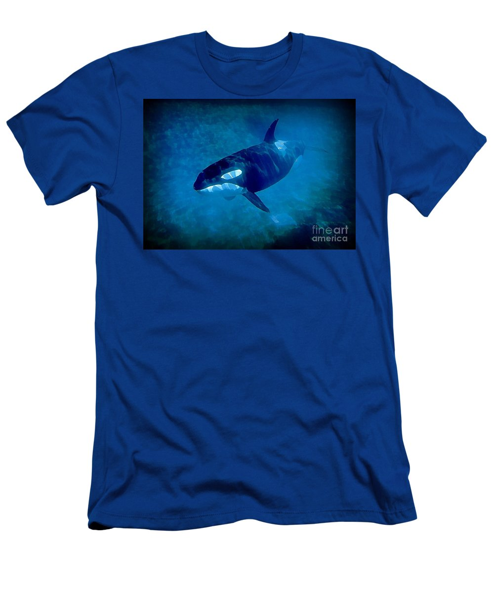 Whale Men's T-Shirt (Athletic Fit) featuring the painting Whale by John Malone