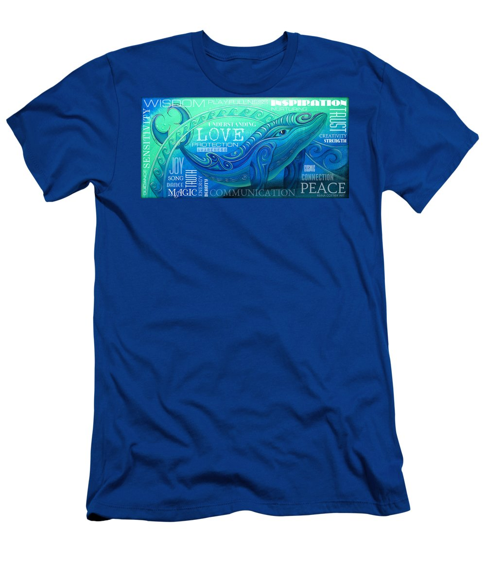 Whale Men's T-Shirt (Athletic Fit) featuring the painting Whale Totem Wordart by Reina Cottier