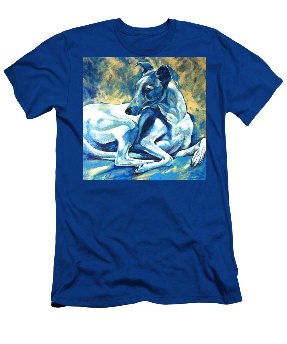 Whippet Paintings T-Shirt featuring the painting Whippet-Effects of Gravity 5 by Derrick Higgins