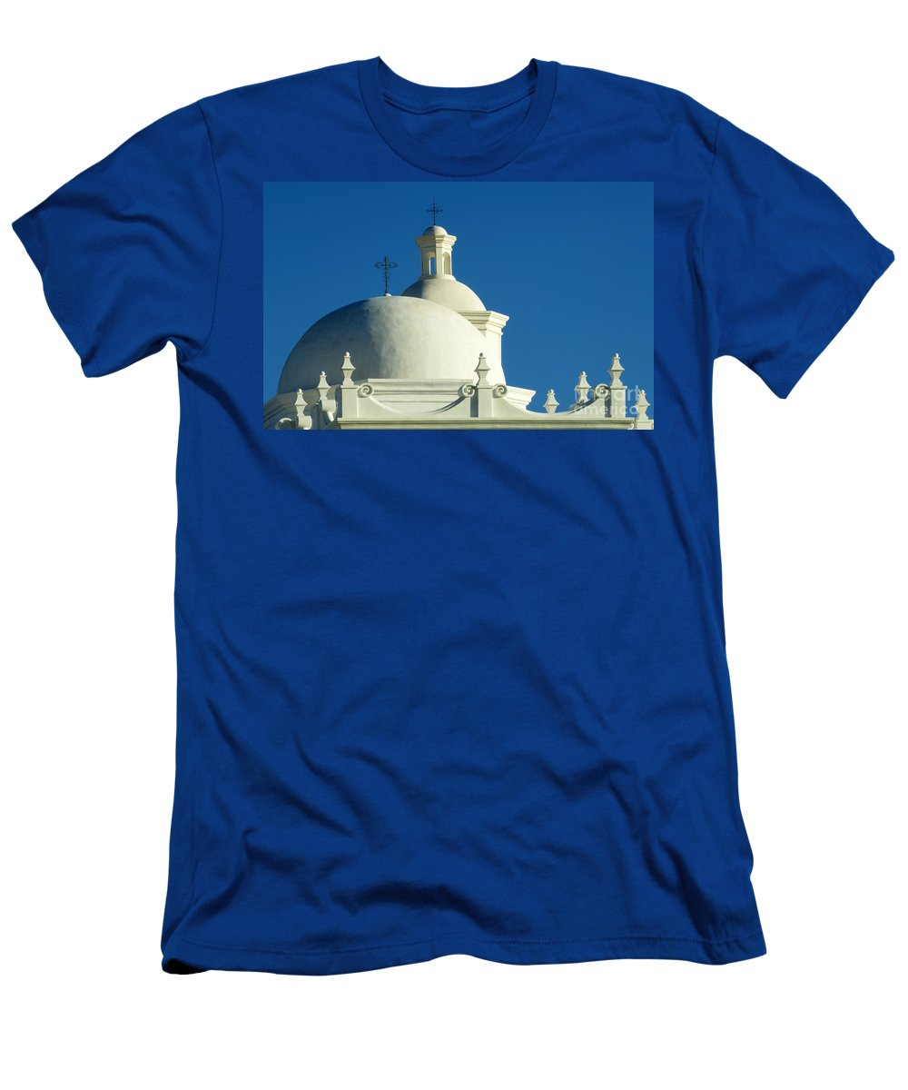 San Xavier Del Bac Mission Men's T-Shirt (Athletic Fit) featuring the photograph White Dove Of The Desert by Bob Christopher