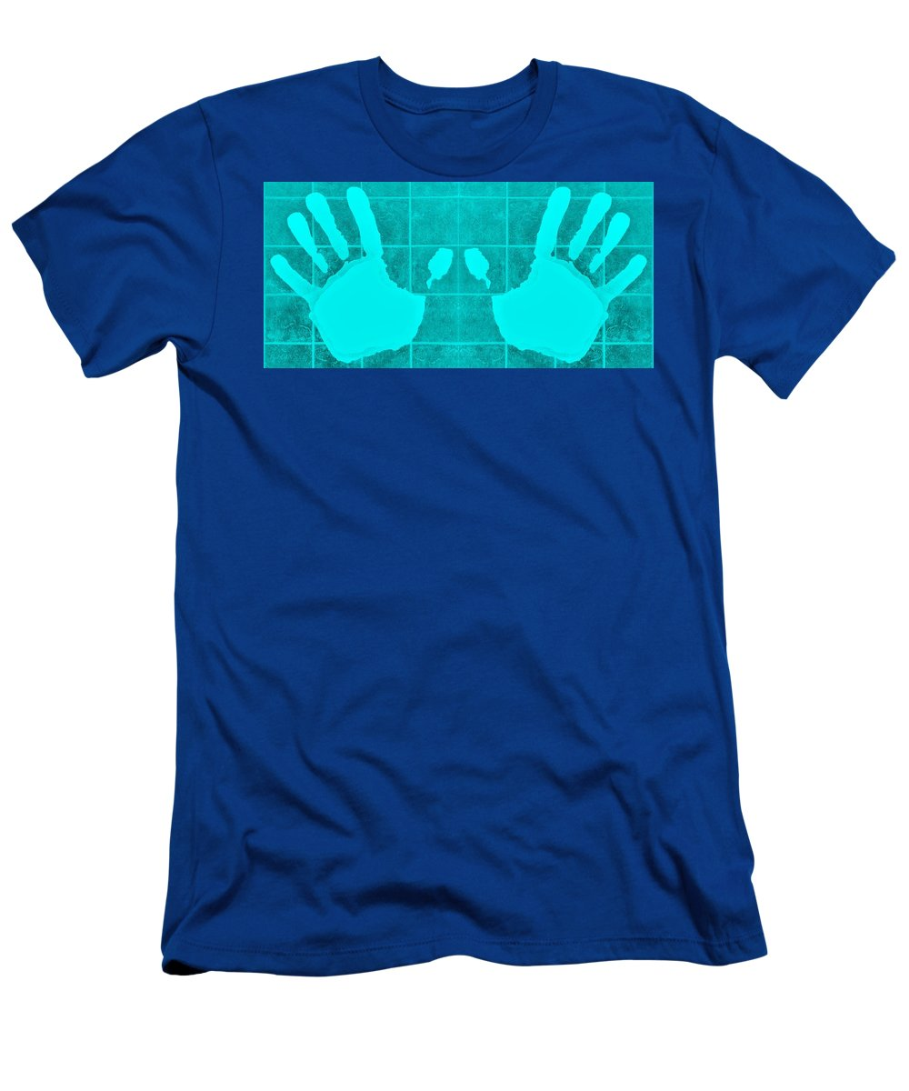 Hand Men's T-Shirt (Athletic Fit) featuring the photograph White Hands Aquamarine by Rob Hans