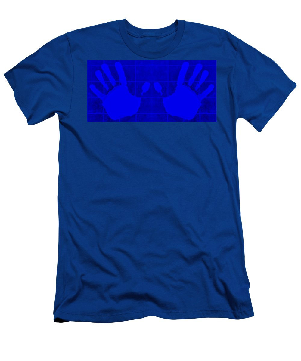 Hand Men's T-Shirt (Athletic Fit) featuring the photograph White Hands Blue by Rob Hans