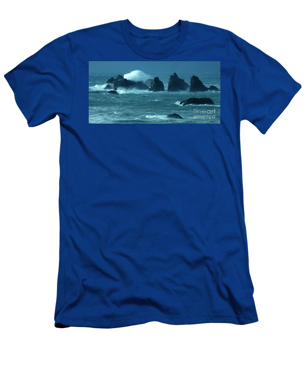 Bandon By The Sea Men's T-Shirt (Athletic Fit) featuring the photograph Wild Waters 2 by Vivian Christopher