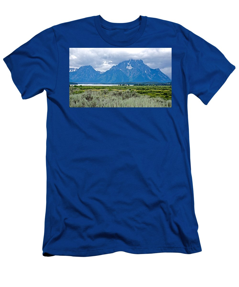 Willow Flats Overlook In Grand Teton National Park Men's T-Shirt (Athletic Fit) featuring the photograph Willow Flats Overlook In Grand Teton National Park-wyoming  by Ruth Hager