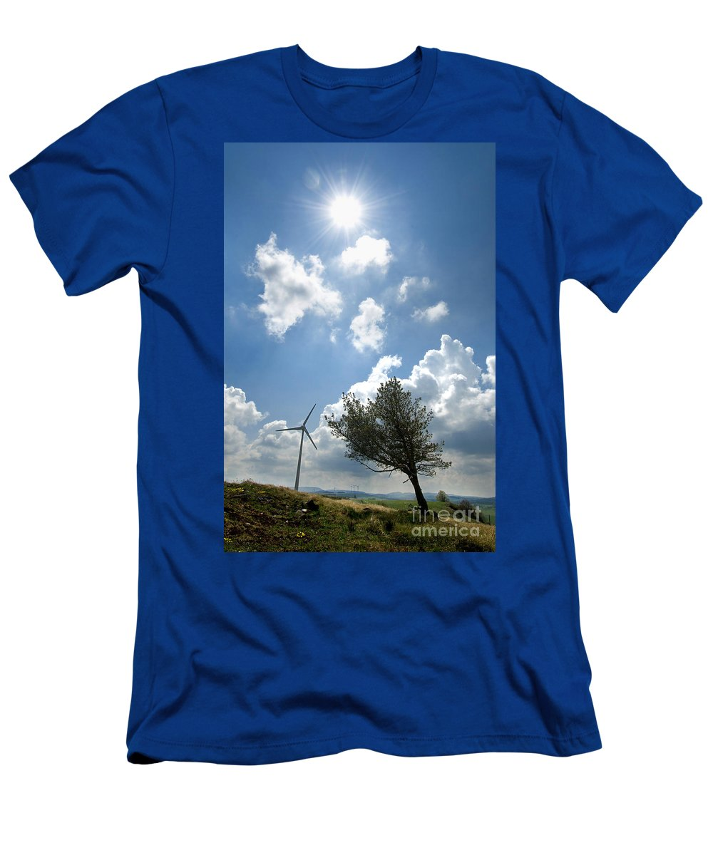 Cloudy Men's T-Shirt (Athletic Fit) featuring the photograph Wind Turbine by Bernard Jaubert