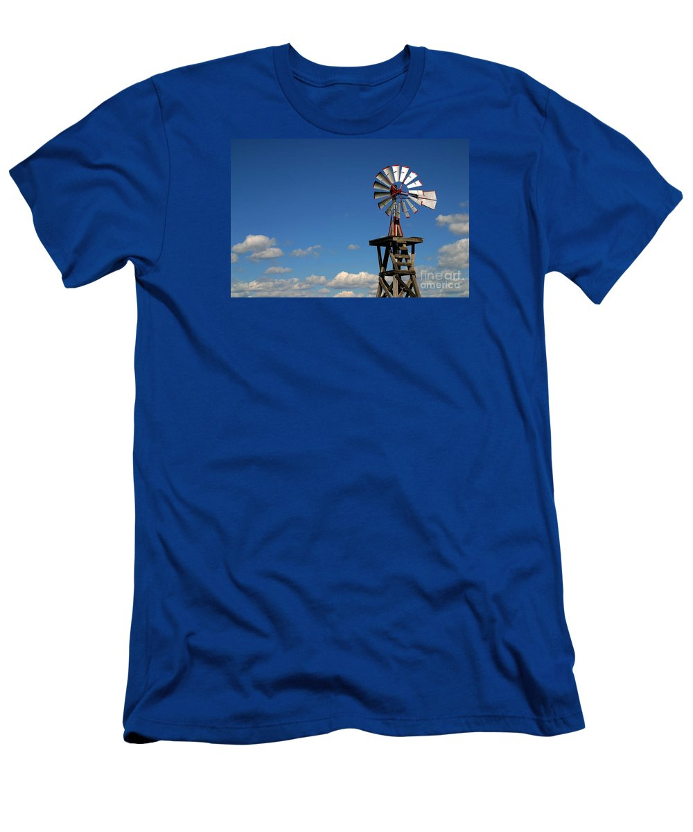 Windmill Photographs Men's T-Shirt (Athletic Fit) featuring the photograph Windmill-5749b by Gary Gingrich Galleries