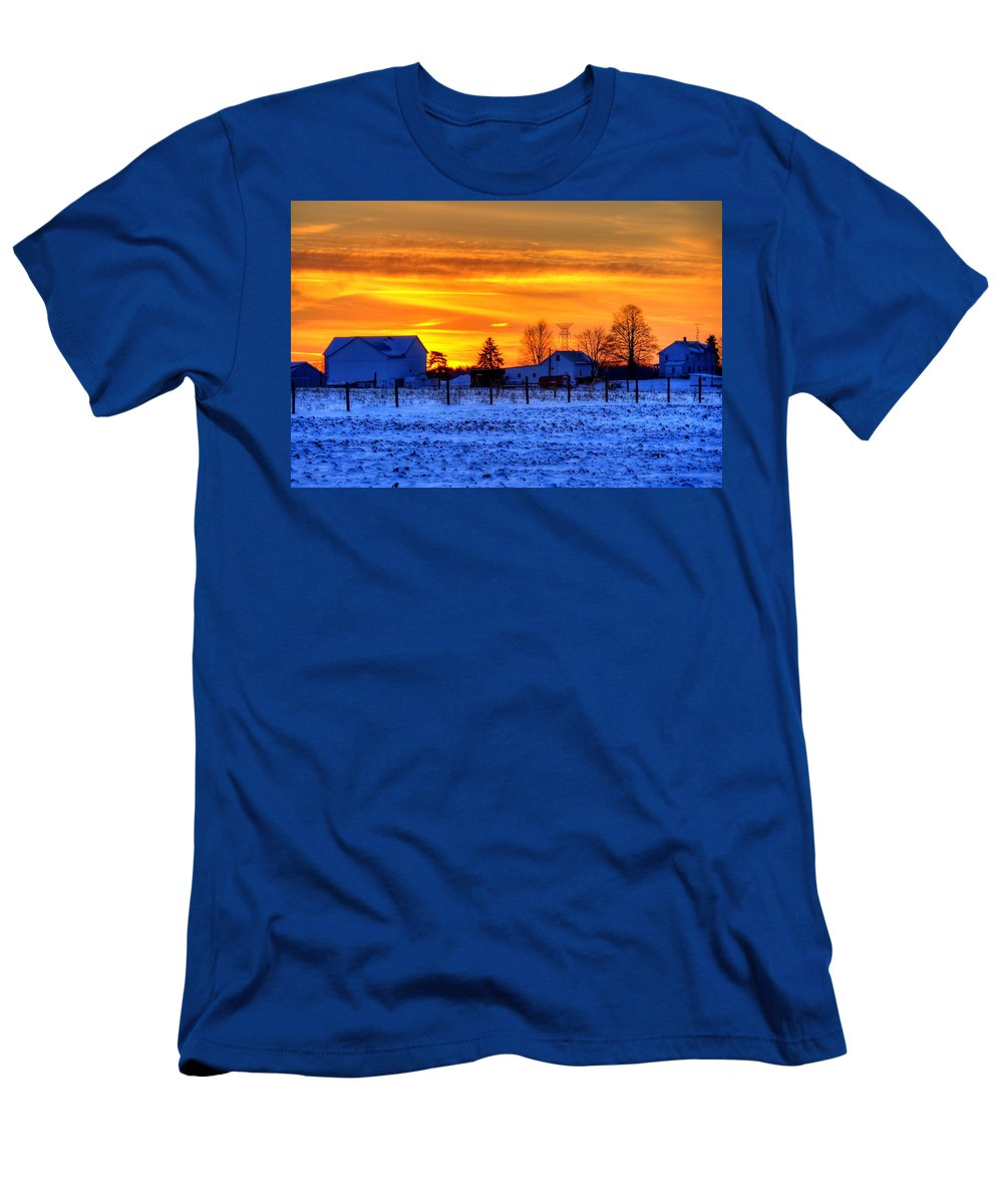 Farm Men's T-Shirt (Athletic Fit) featuring the photograph Winter Country Sunset by David Dufresne