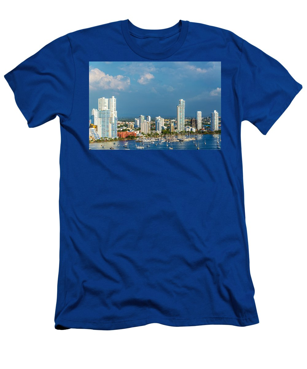 Colombia Men's T-Shirt (Athletic Fit) featuring the photograph Yachts And Modern Cartagena by Jess Kraft