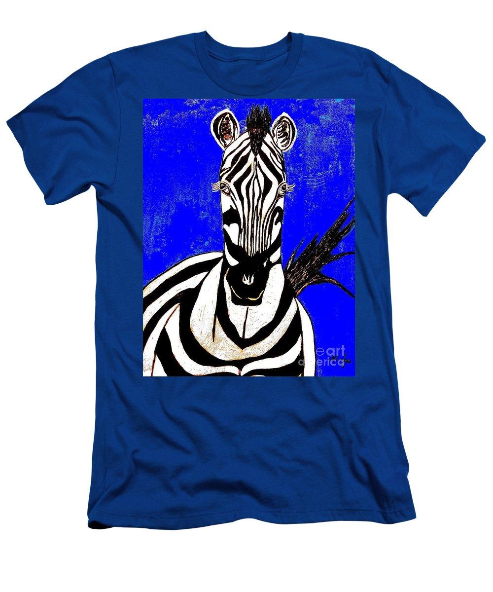 Zebra Men's T-Shirt (Athletic Fit) featuring the painting Zebra Portrait by Saundra Myles