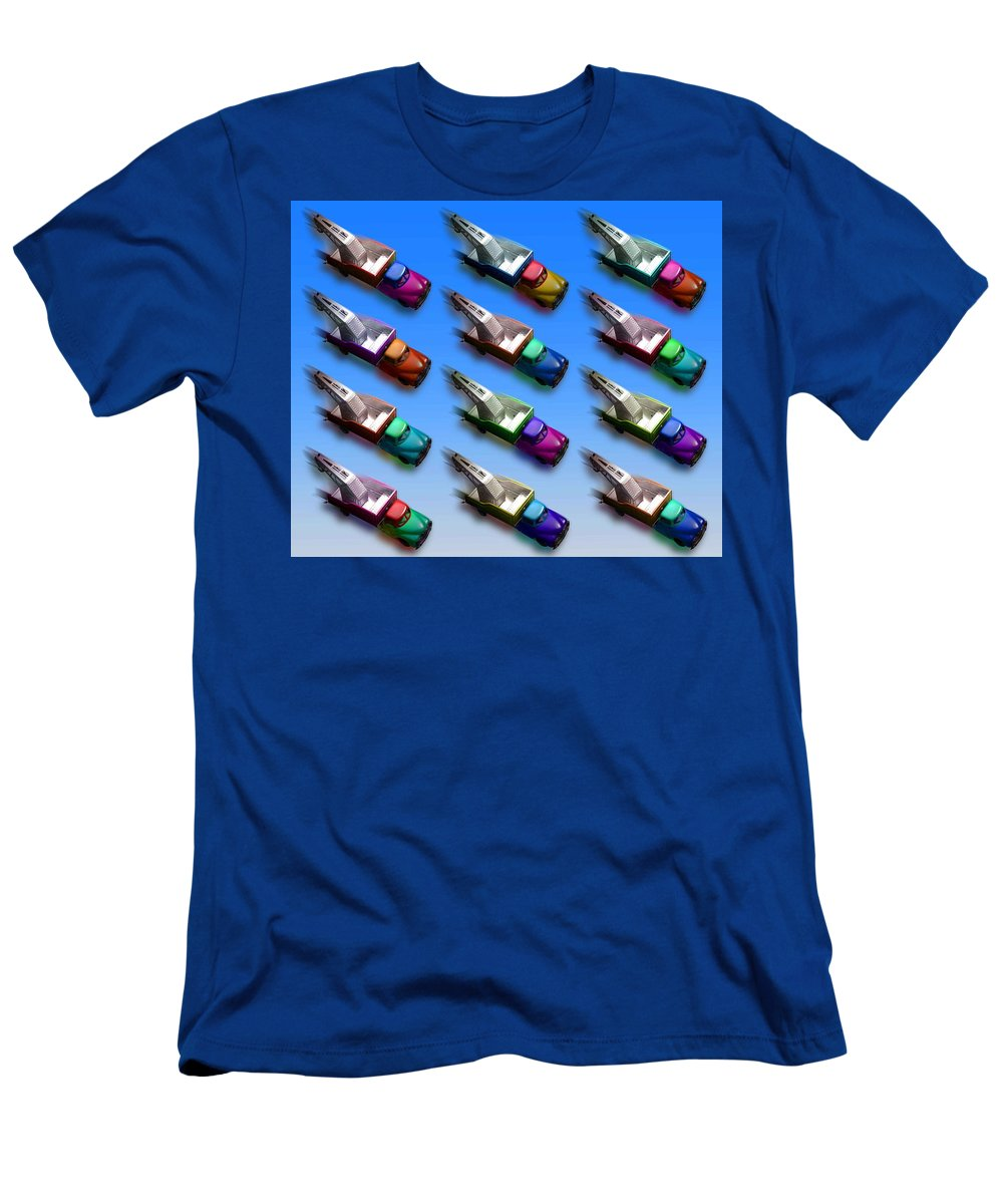 Tow Truck Men's T-Shirt (Athletic Fit) featuring the painting Line Truckin by Charles Stuart