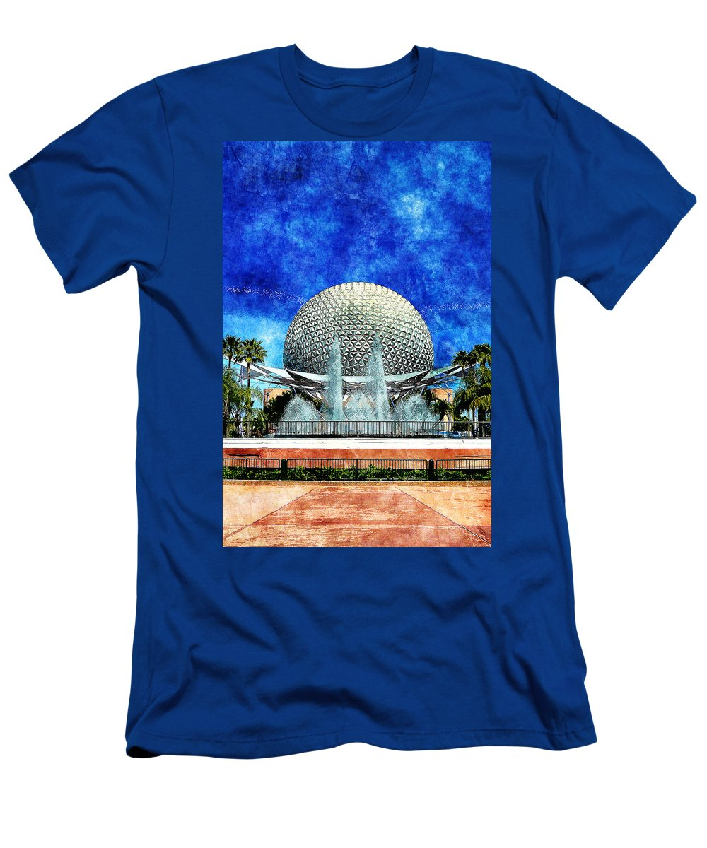Disney Men's T-Shirt (Athletic Fit) featuring the digital art Spaceship Earth And Fountain Of Nations by Sandy MacGowan