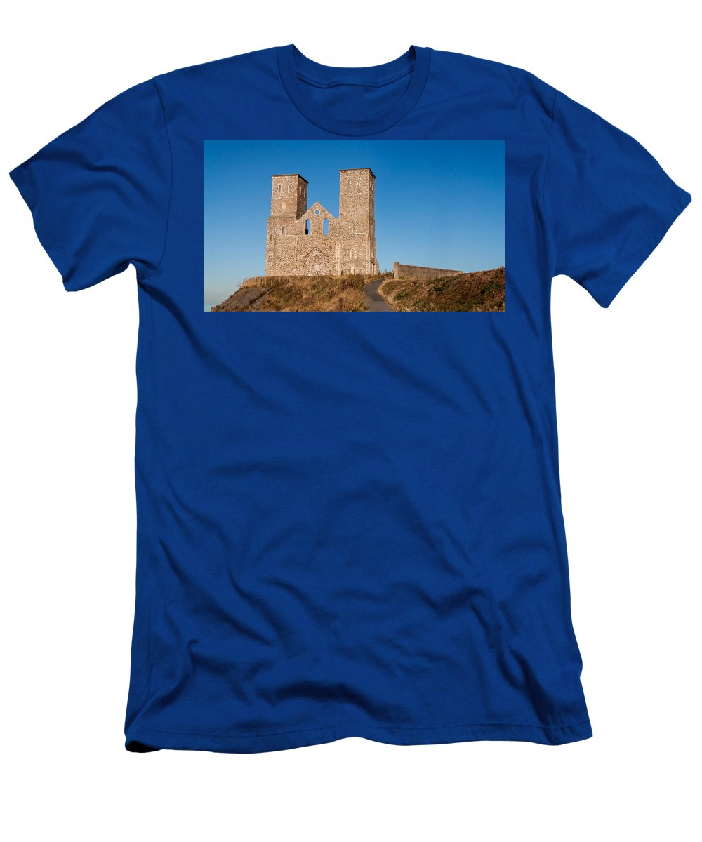 Church Men's T-Shirt (Athletic Fit) featuring the photograph Reculver Towers by Dawn OConnor