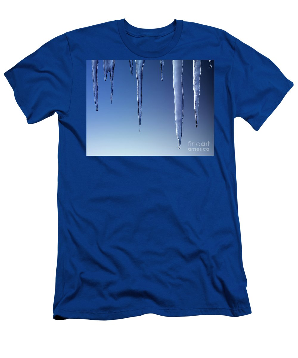 Icicles Men's T-Shirt (Athletic Fit) featuring the photograph Melting Icicles by Oleksiy Maksymenko