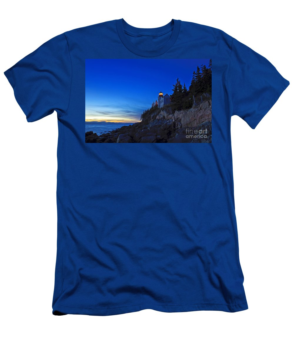 Bass Harbor Men's T-Shirt (Athletic Fit) featuring the photograph Bass Harbor Lighthouse by John Greim