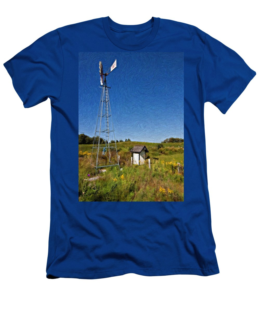Grey Roots Museum & Archives Men's T-Shirt (Athletic Fit) featuring the photograph A Moving Memory Impasto by Steve Harrington