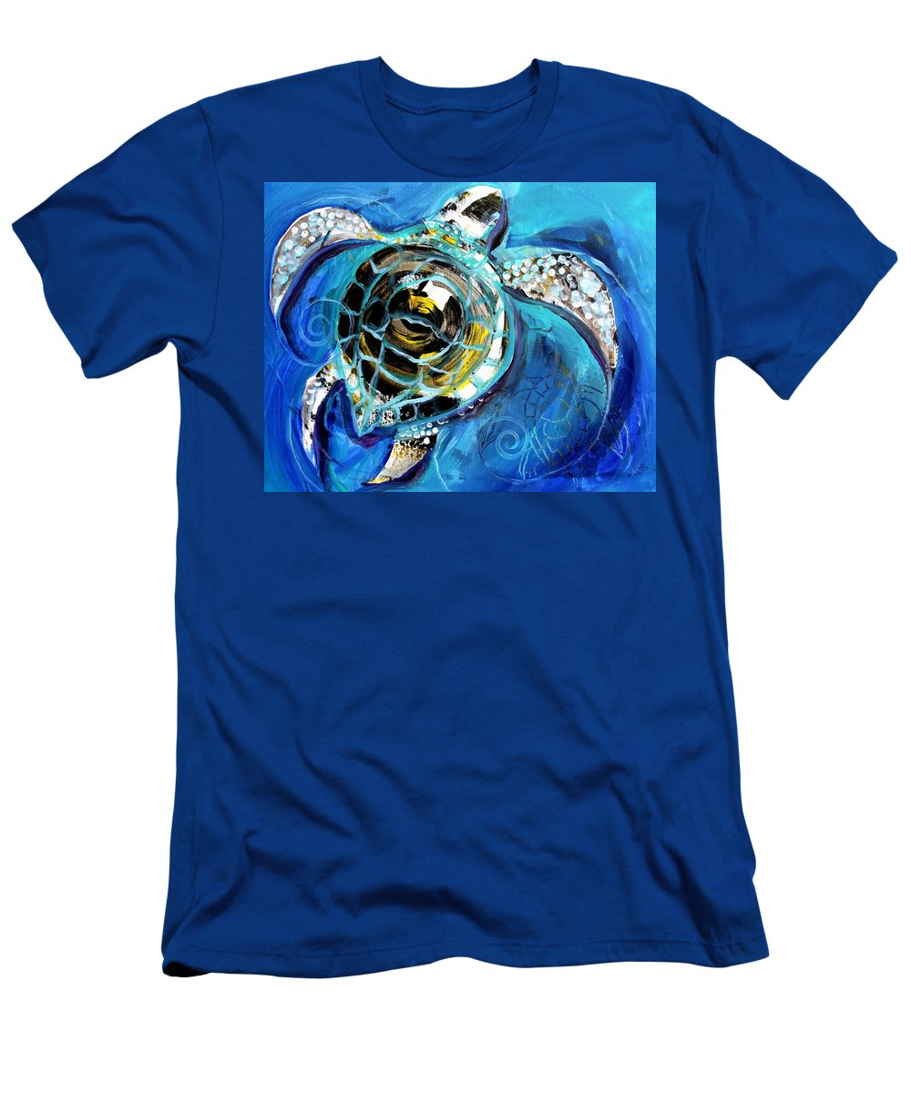 Sea Turtle Men's T-Shirt (Athletic Fit) featuring the painting Abstract Sea Turtle In C Minor by J Vincent Scarpace