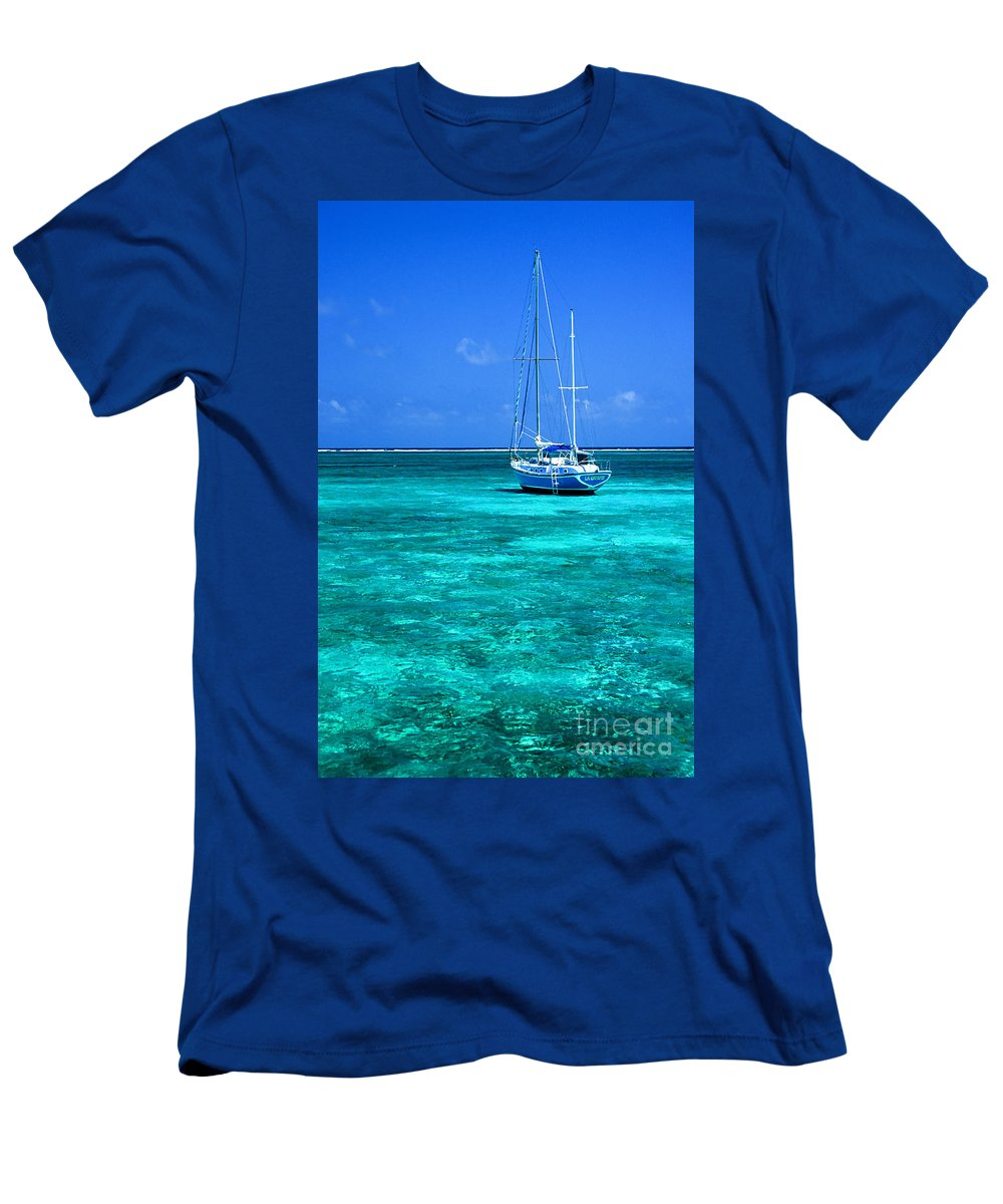 Aqua Men's T-Shirt (Athletic Fit) featuring the photograph Ambergris Caye by John Greim