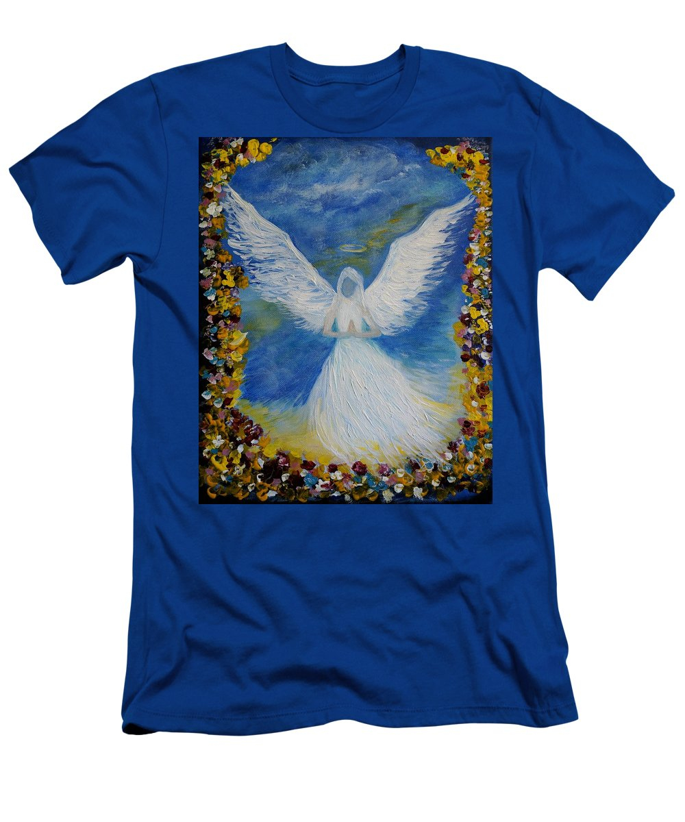 Angel Men's T-Shirt (Athletic Fit) featuring the painting Angel Among Us by Leslie Allen