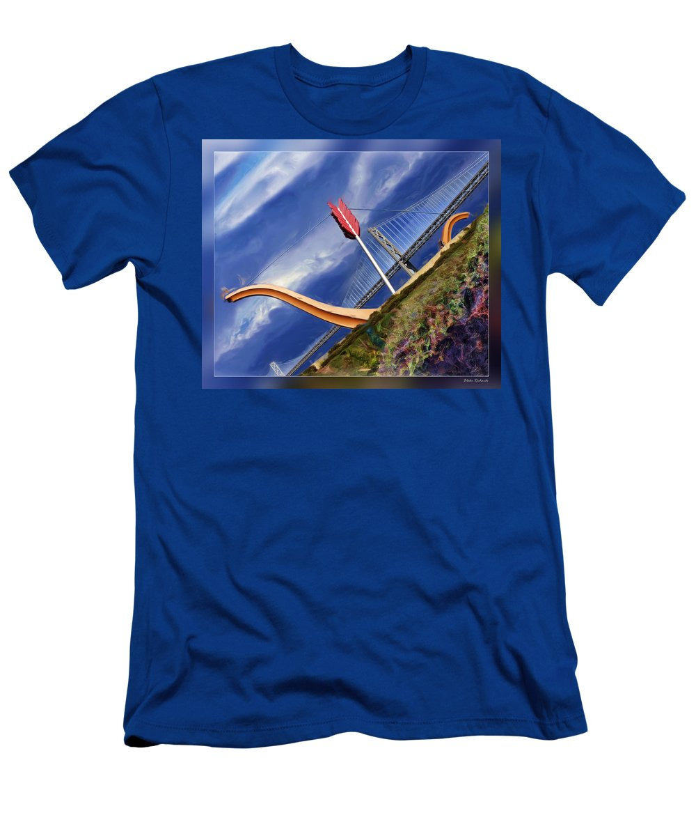 Art Photography Men's T-Shirt (Athletic Fit) featuring the photograph Arrow Through Bay Bridge by Blake Richards