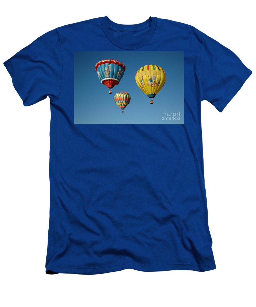 Hot Air Balloons Men's T-Shirt (Athletic Fit) featuring the photograph Away We Go by Vivian Christopher