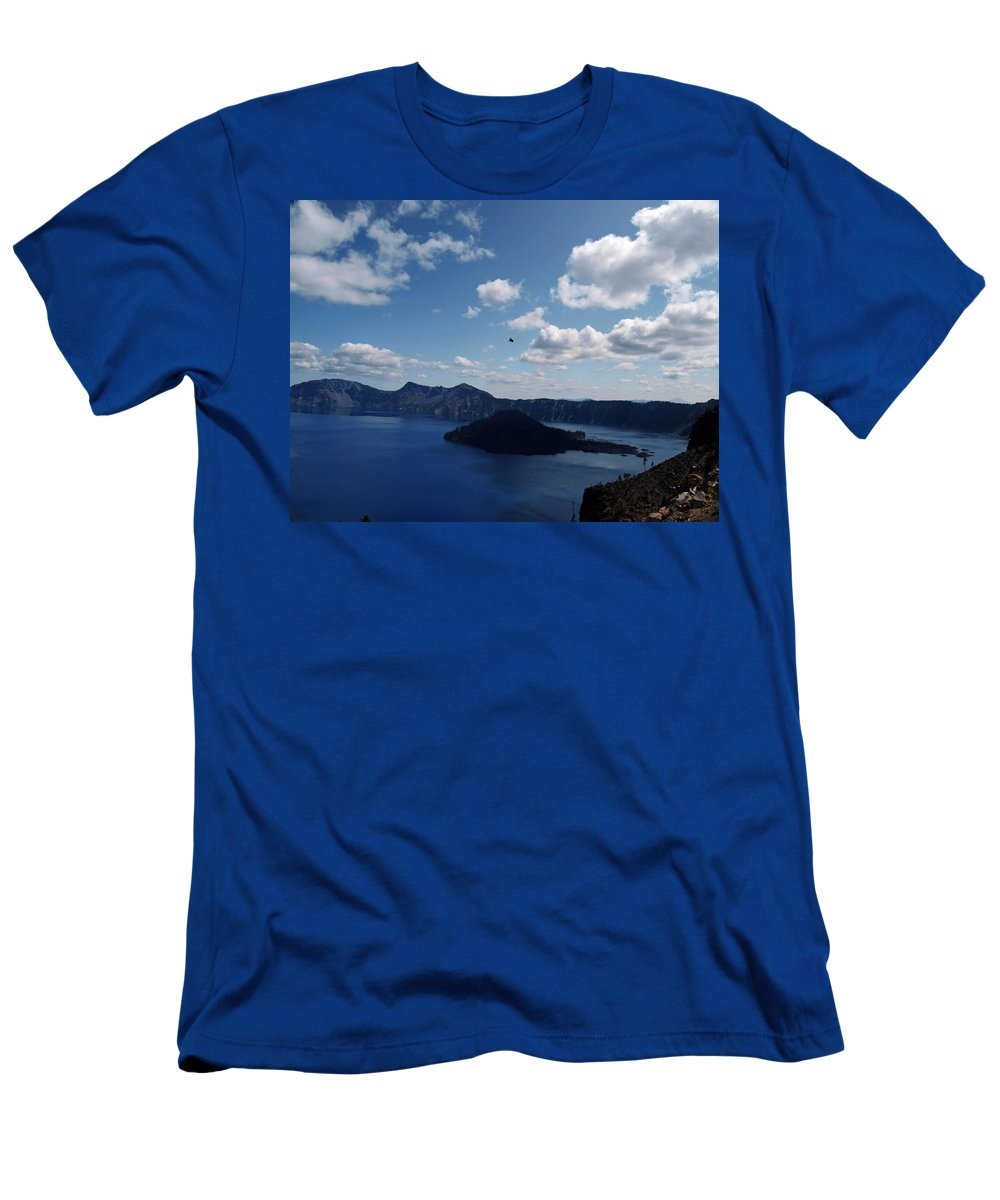 Blue Men's T-Shirt (Athletic Fit) featuring the photograph Backside Of Crater Lake by Teri Schuster