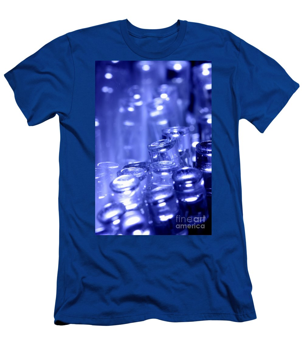 Lights Men's T-Shirt (Athletic Fit) featuring the photograph Blue Led Lights Pointing Upwards by Simon Bratt Photography LRPS