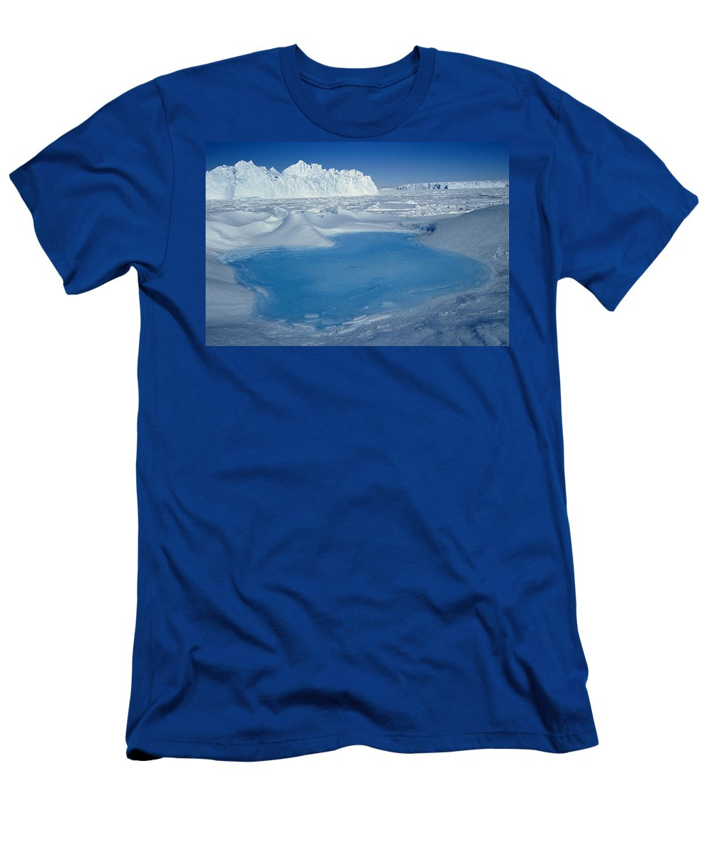 Hhh T-Shirt featuring the photograph Blue Pool on Iceberg Antarctica by Colin Monteath