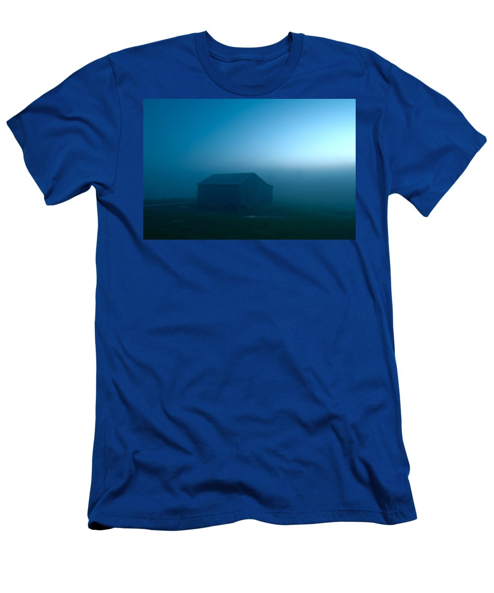 Blue Men's T-Shirt (Athletic Fit) featuring the photograph Blue Tobacco Barn Fog by Randall Branham