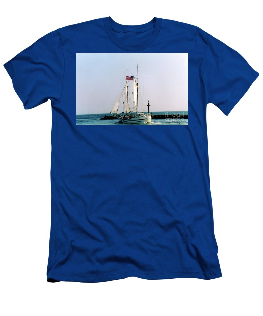 Boat Men's T-Shirt (Athletic Fit) featuring the photograph Boston Harbor by Donna Brown