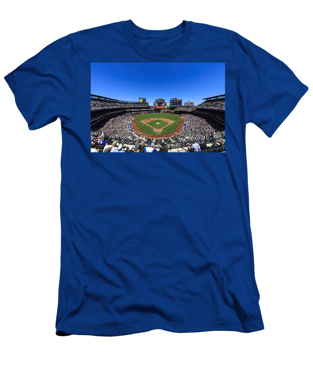 Stadium Men's T-Shirt (Athletic Fit) featuring the photograph Citifield by Rick Berk
