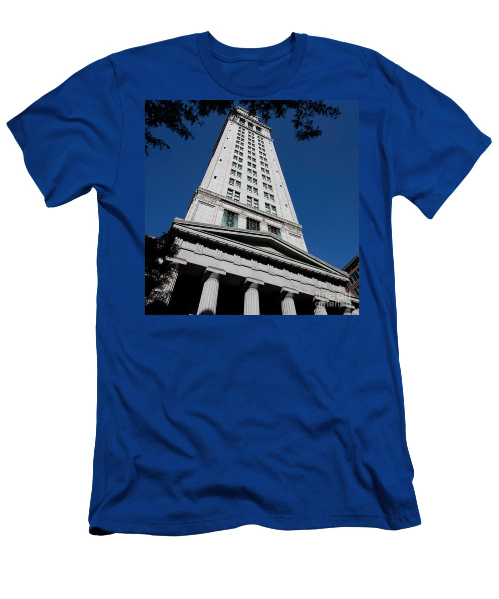 Architecture Men's T-Shirt (Athletic Fit) featuring the photograph Custom House Boston by Thomas Marchessault