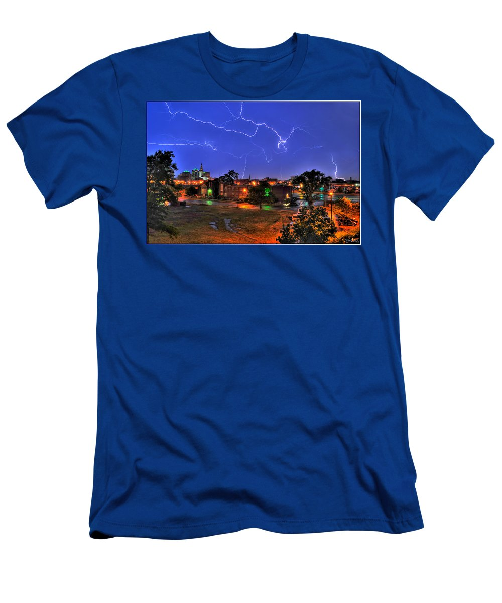 Lightening Men's T-Shirt (Athletic Fit) featuring the photograph Electrifying Canvases Of Nature by Michael Frank Jr