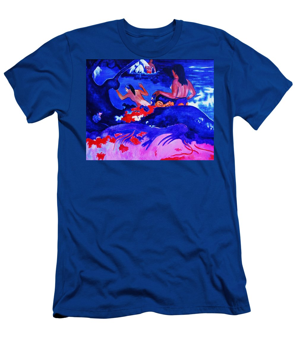 Landscape Men's T-Shirt (Athletic Fit) featuring the painting Fatata Te Miti- Gaugain by Camelia Apostol