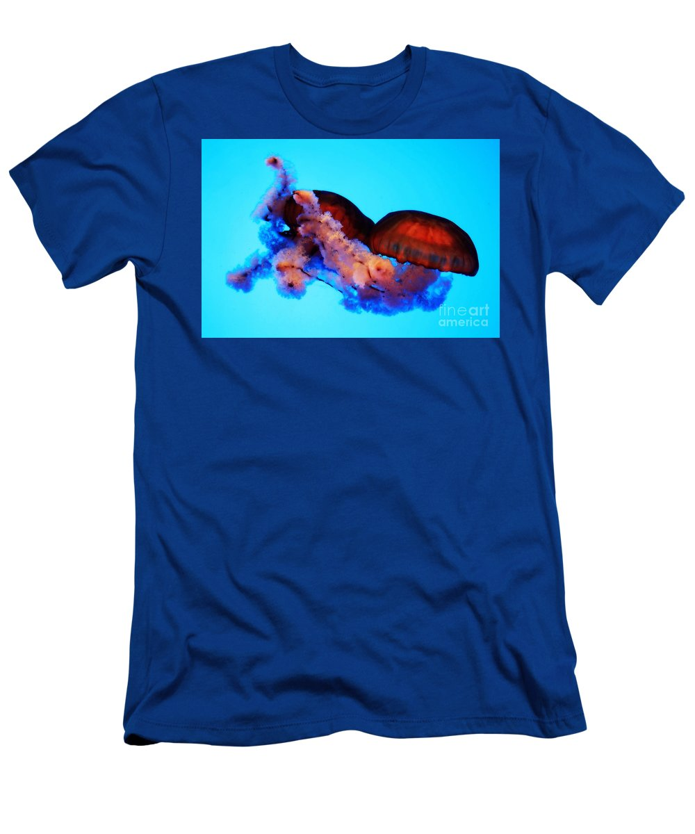 Jellyfish Men's T-Shirt (Athletic Fit) featuring the photograph Jellyfish Drama - Digital Art by Carol Groenen