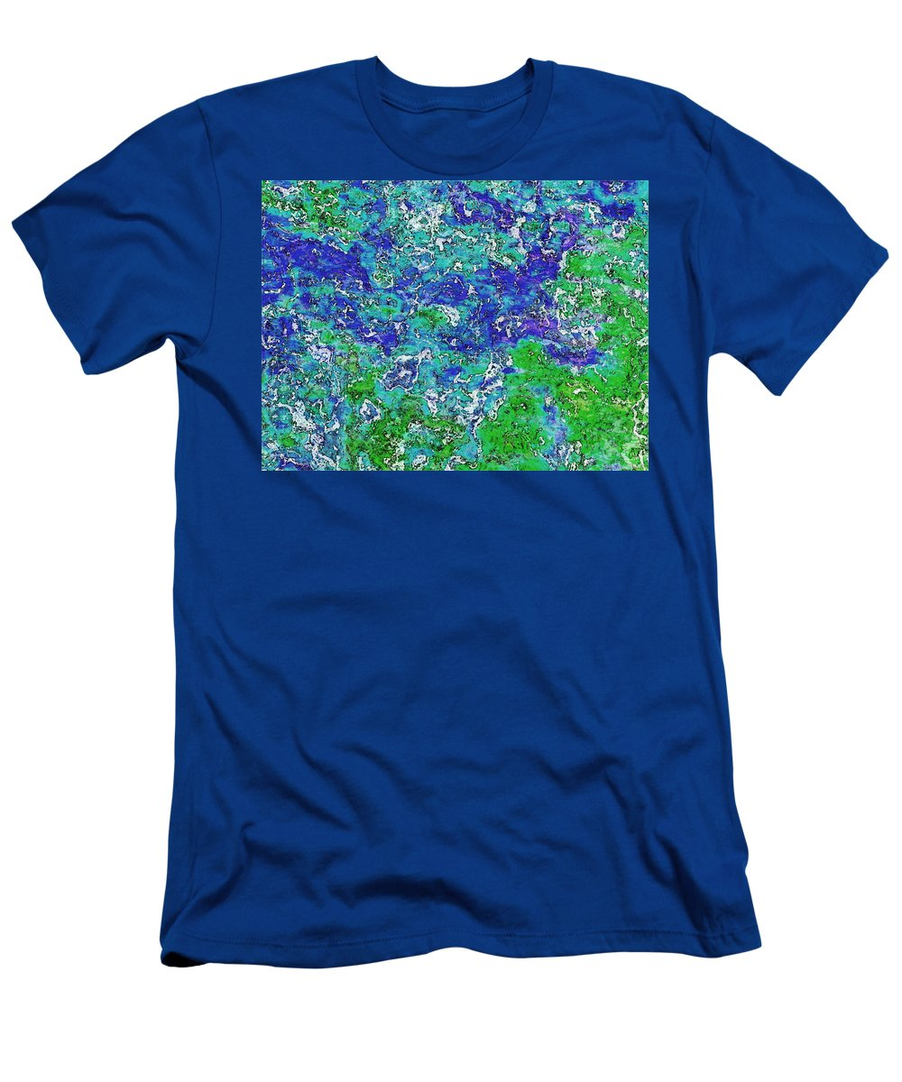 Abstract Men's T-Shirt (Athletic Fit) featuring the digital art Land And Sea by Debbie Portwood