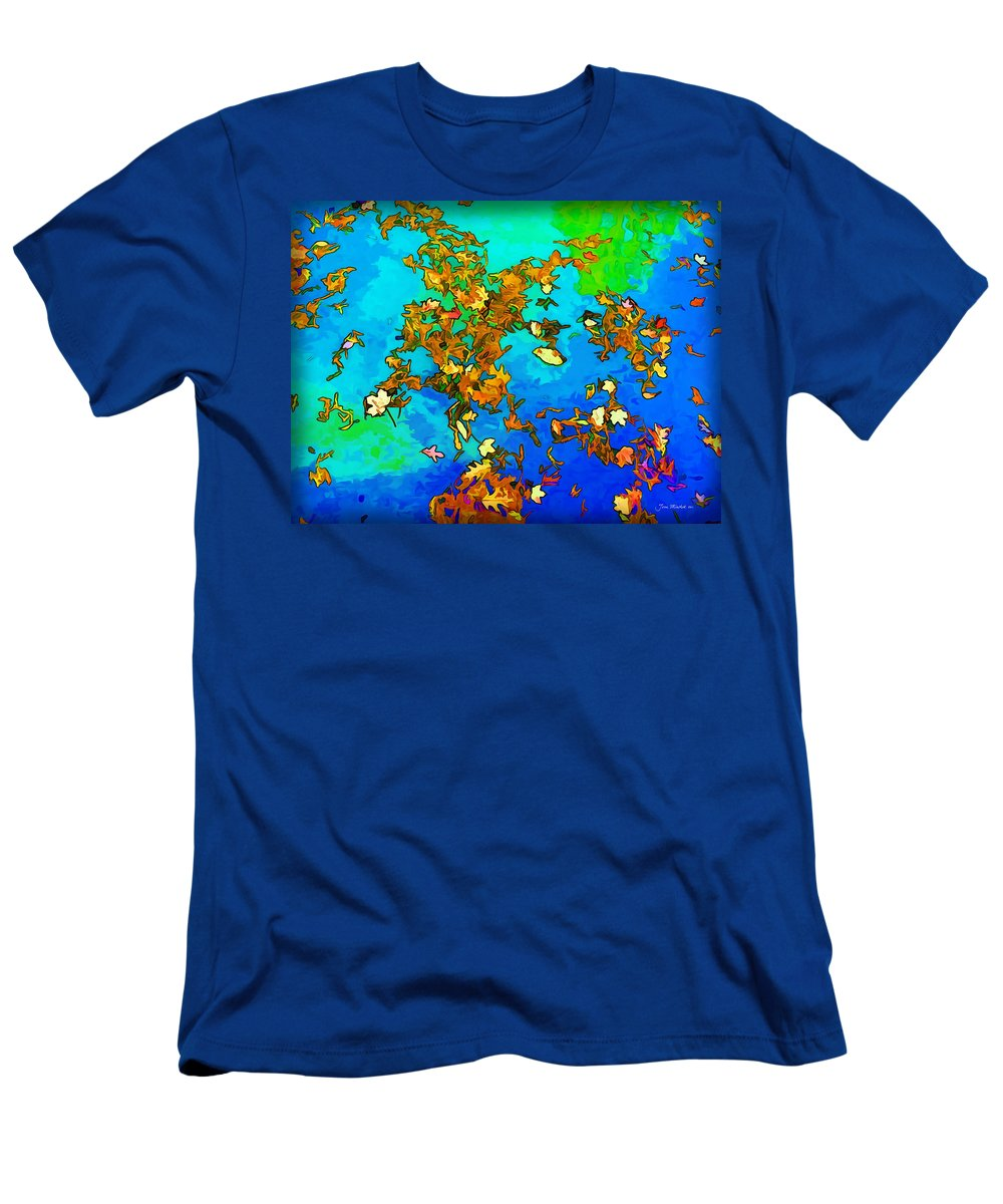 Leaves Men's T-Shirt (Athletic Fit) featuring the photograph Leaves In A Pond by Joan Minchak
