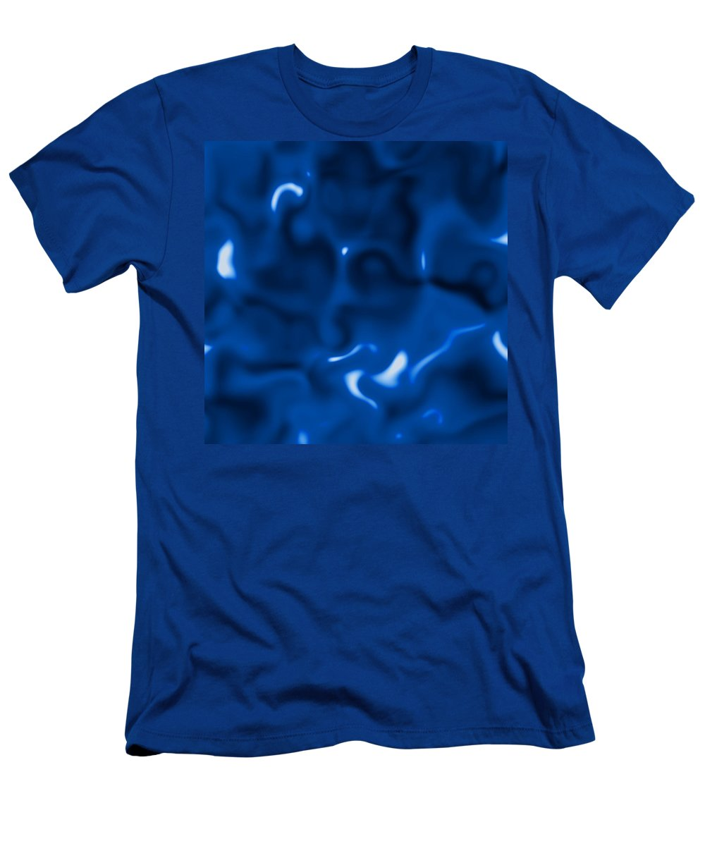 Liquid Blue Abstract Men's T-Shirt (Athletic Fit) featuring the digital art Liquid Blue Abstract by Christy Leigh