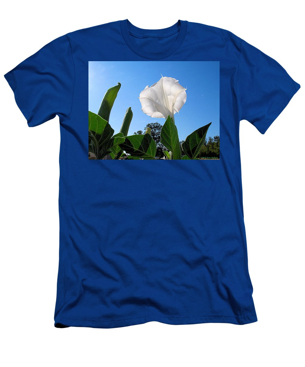Moonflower Men's T-Shirt (Athletic Fit) featuring the photograph Moonflower Rising by Joyce Dickens