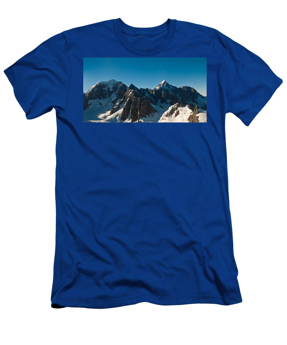 Alps Men's T-Shirt (Athletic Fit) featuring the photograph Mount Cook Akaroa In New Zealand by U Schade