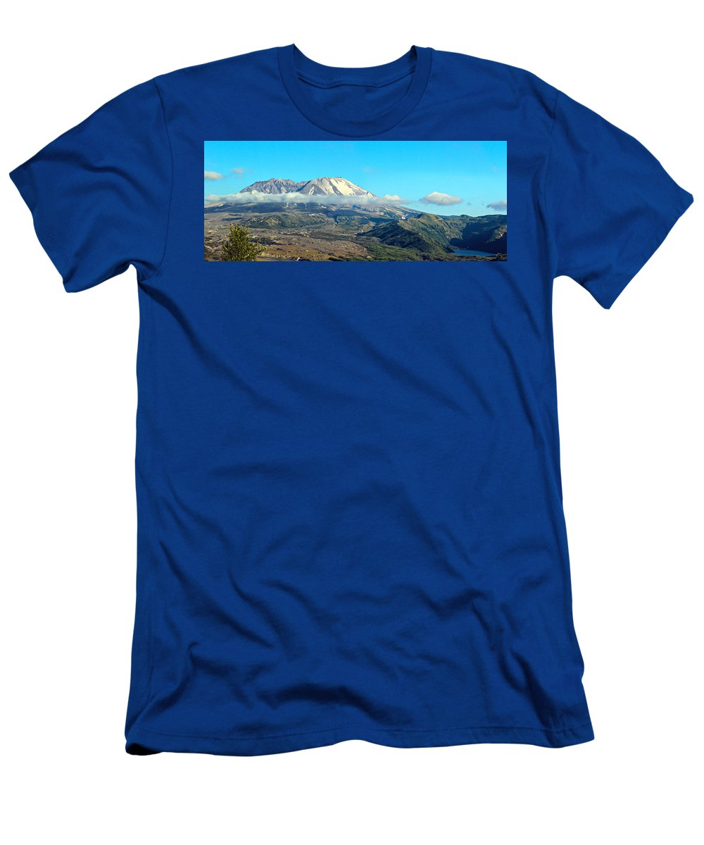 Blue Men's T-Shirt (Athletic Fit) featuring the photograph Mount St Helens And Castle Lake by Paul Fell