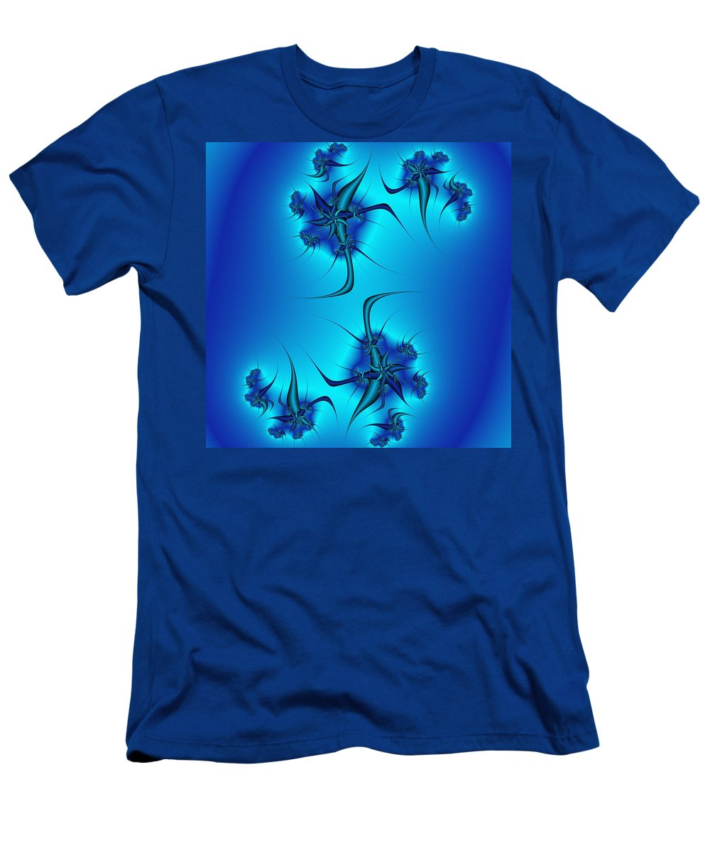 Blue Fractal Men's T-Shirt (Athletic Fit) featuring the digital art Multiply by Christy Leigh