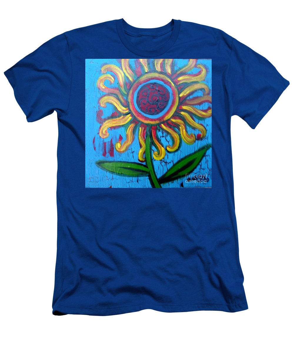 Sunflower Men's T-Shirt (Athletic Fit) featuring the painting One Flower by Genevieve Esson