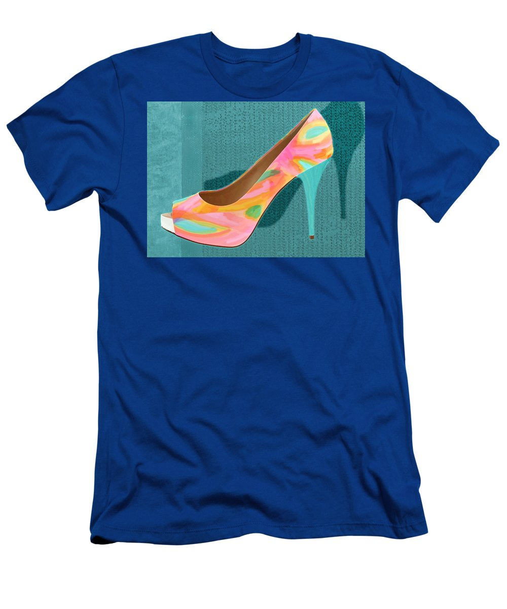 Shoes Heels Pumps Fashion Designer Feet Foot Shoe Men's T-Shirt (Athletic Fit) featuring the painting Painted Leather Platform Pumps by Elaine Plesser