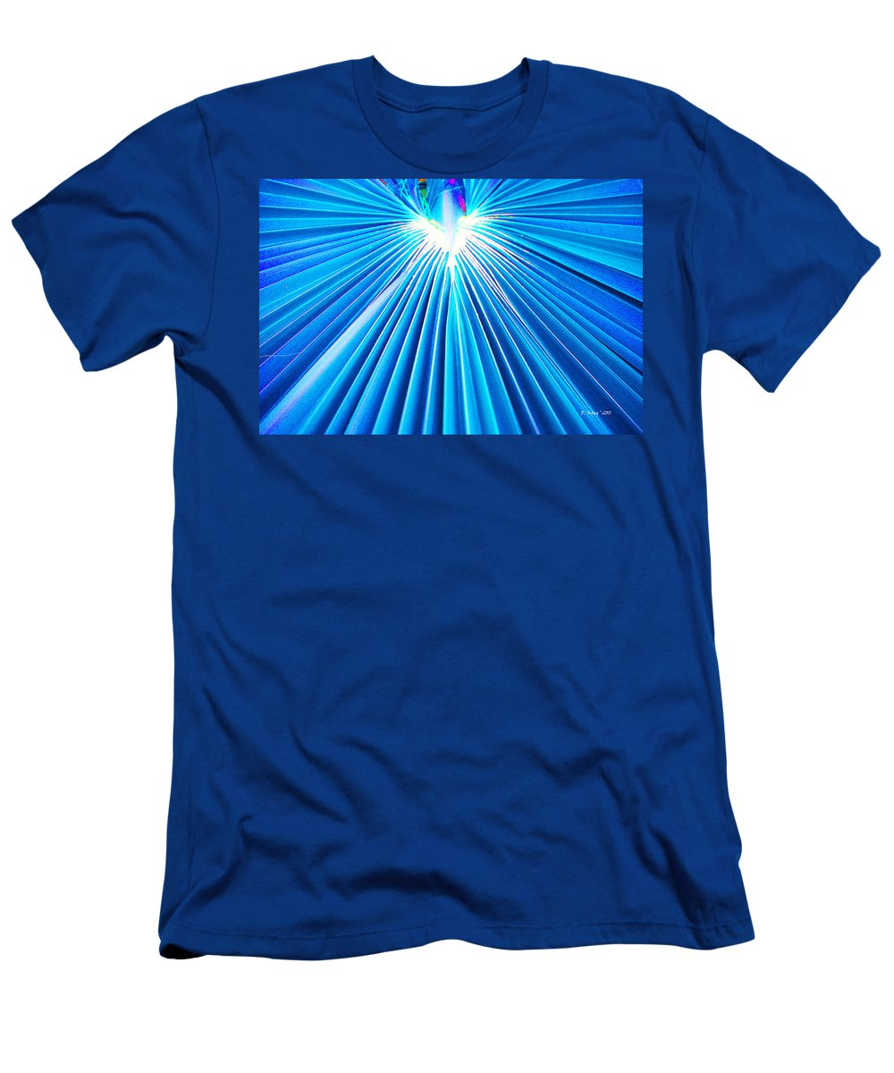 Roena King Men's T-Shirt (Athletic Fit) featuring the photograph Palm Frond In Blue by Roena King